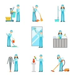 Workers Providing Cleaning Service In Blue Uniform vector