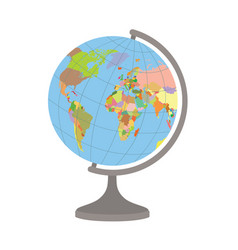 world globe on a stand political map world vector image