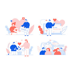 Worldwide loving people communication card set vector