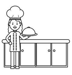 young female chef with tray server vector image