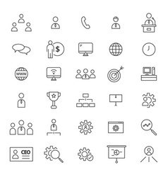 ceo 30 line icons vector image vector image