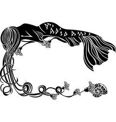 Ornate frame sleeping mermaid vector image