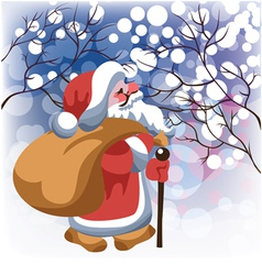 santa claus with gifts in winter forest vector image vector image