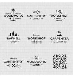 Vintage woodwork logotypes vector image