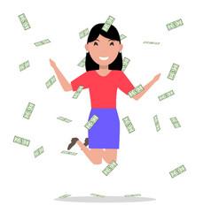 cartoon woman jumping joy falling money vector image vector image