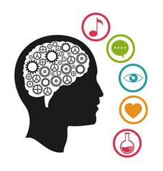 head brain knowlegdge social media vector image vector image