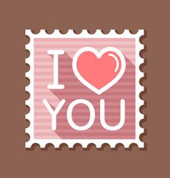 lettering i love you stamp vector image
