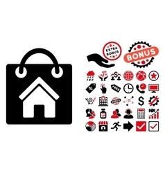 Buy Home Flat Icon with Bonus vector image vector image