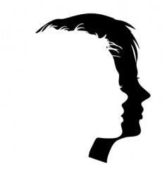 faces profiles vector image vector image