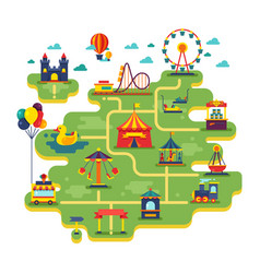Family fun amusement park map vector