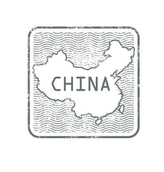 stamps with contour of map of china vector image