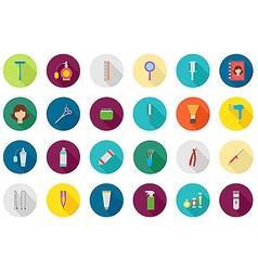 Barbershop round icons set vector image