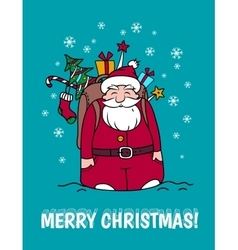 Merry Christmas card with Santa Claus and gifts vector image