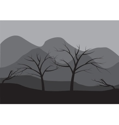 Silhouettes of dry tree vector image