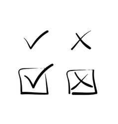 Yes no tick cross box signs vector image