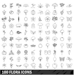 100 flora icons set outline style vector image