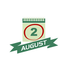 2 august calendar with ribbon vector