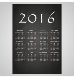 2016 wall calendar white text on black board eps10 vector