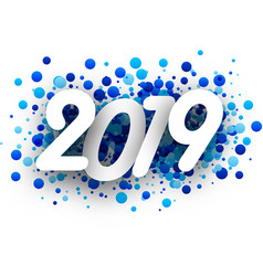 2019 new year background with blue drops vector image