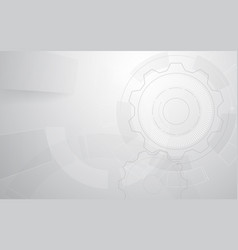 abstract grey and white gear and tech geometric vector image