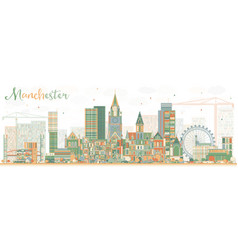 Abstract manchester skyline with color buildings vector