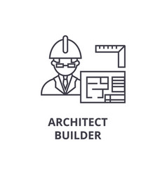 Architect contractor line icon sign vector