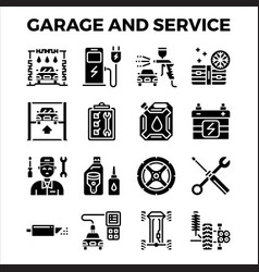 automotive garage and service solid icon vector image