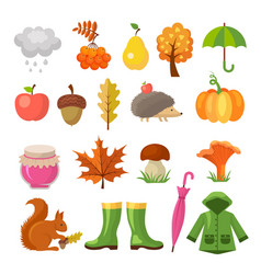 autumn colored symbols icon set autumn vector image