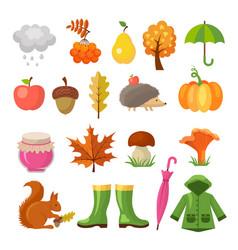 Autumn colored symbols icon set of vector