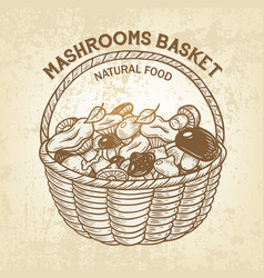 basket with edible mushrooms realistic vector image