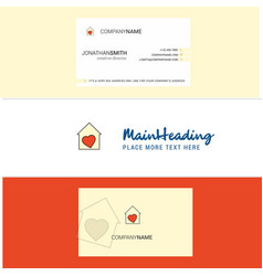 beautiful love house logo and business card vector image