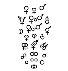 Biological Symbols and Signs of sex gender vector
