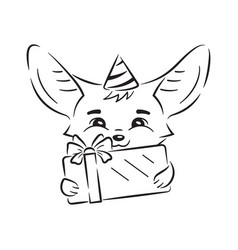 Black and white cute fennec fox in a party hat vector