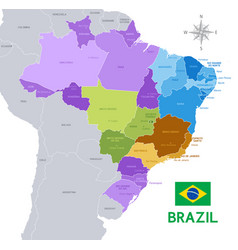 brazil administrative map vector image