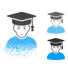 Broken dotted halftone professor icon with face vector