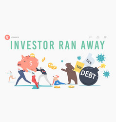 Business investor characters run away from vector