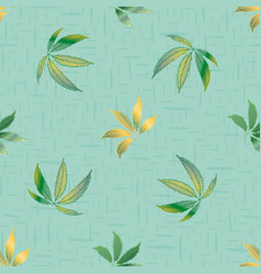 cannabis leaves seamless pattern vector image