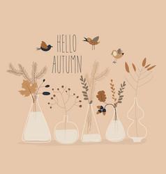 Cartoon autumn plants in different bottles hello vector