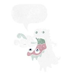 Cartoon gross ghost with speech bubble vector