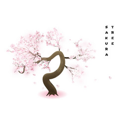 cherry tree realistic pink blossoming spring vector image