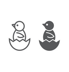 chick peeking out of egg line and glyph icon vector image