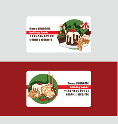christmas food chef business card and desserts vector image