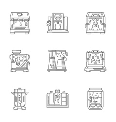 Coffee equipment linear icons set vector image