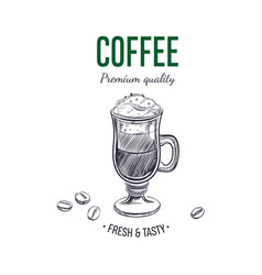 coffee logo hand drawn vector image