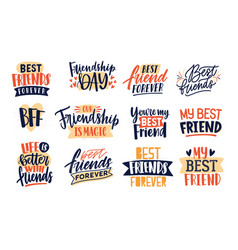 Collection friends and friendship quotes vector