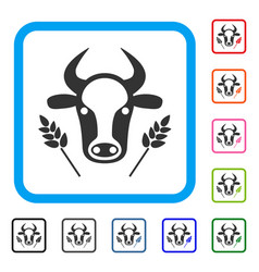 cow and wheat agriculture framed icon vector image