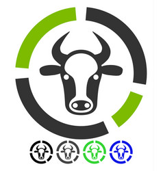 Cow diagram flat icon vector