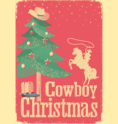 cowboy christmas card with tree and winter vector image