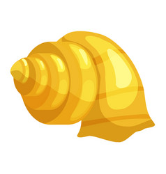 cute bright yellow cartoon seashell icon colorful vector image