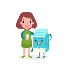 cute girl with glass of milk and humanized vector image